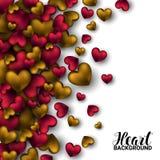 O vermelho 3D colorido realístico e o ouro Valentine Hearts Valentines romântico amam Fundo da ilustração do vetor ilustração royalty free