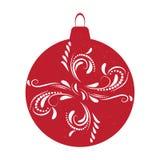 O vermelho da bola do Natal isolou o fundo, ilustração do vetor Foto de Stock Royalty Free