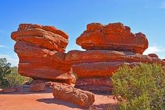 O vermelho da pedra calcária balança a formação de rocha no jardim dos deuses Colorado Imagem de Stock Royalty Free