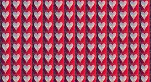 O vermelho de brilho do coração alinhado chapinha o teste padrão Foto de Stock Royalty Free