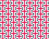 O vermelho de repetição simétrico do teste padrão cruza círculos escuros no fundo branco ilustração stock