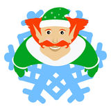 O vermelho de Santa Claus do duende sob a forma de um floco de neve um ícone no fone branco dlya a imprensa, camisetas, t-shirt,  Imagem de Stock Royalty Free