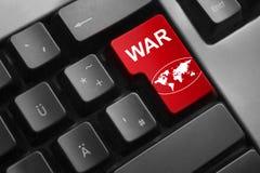 O vermelho do teclado incorpora o símbolo global da guerra do botão foto de stock