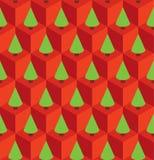 O vermelho do teste padrão cuba árvores verdes Fotografia de Stock