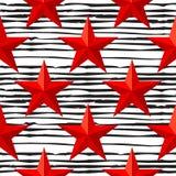 O vermelho do vetor stars o teste padrão sem emenda para o 23 de fevereiro O dia do defensor da pátria Imagem de Stock
