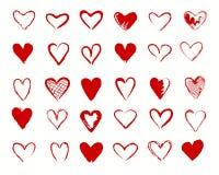O vermelho dos corações assina a coleção Ilustração do Vetor