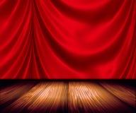 O vermelho drapeja no estágio Imagens de Stock Royalty Free