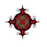 O vermelho e o marrom florescem o símbolo circular do ornamento isolado no fundo branco Imagens de Stock Royalty Free