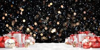 O vermelho e os presentes e as quinquilharias do White Christmas alinharam a rendição 3D Fotografia de Stock