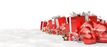 O vermelho e os presentes e as quinquilharias do White Christmas alinharam a rendição 3D Imagens de Stock