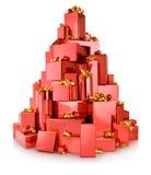 O vermelho encaixota a árvore Fotografia de Stock Royalty Free
