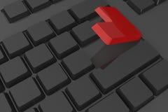 O vermelho entra na tecla no teclado Imagens de Stock