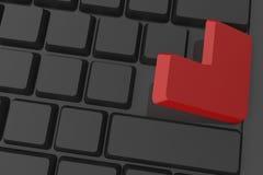 O vermelho entra na tecla no teclado Foto de Stock Royalty Free