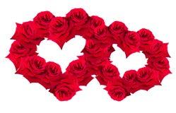 O vermelho levantou-se no coração do formulário Imagens de Stock Royalty Free