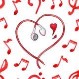 O vermelho nota o vetor sem emenda do teste padrão da música do amor dos corações dos fones de ouvido Fotografia de Stock