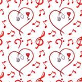 O vermelho nota o vetor sem emenda do teste padrão da música do amor dos corações dos fones de ouvido Fotos de Stock Royalty Free