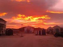 O vermelho nubla-se o céu Nuuk Gronelândia Fotografia de Stock