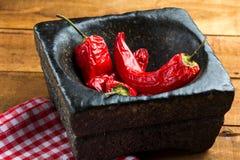 O vermelho quente do pimentão secou ascendente próximo da pimenta Fotografia de Stock