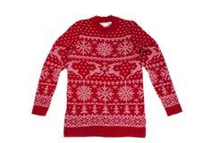 O ` vermelho s das crianças fez malha a camiseta com um teste padrão Isolado no branco fotografia de stock royalty free