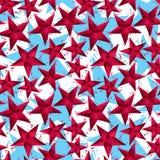 O vermelho stars o teste padrão sem emenda, repeati geométrico do estilo contemporâneo Imagens de Stock Royalty Free