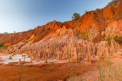 O vermelho Tsingy vermelho de Tsingy na região de Diana em Madagáscar do norte Imagem de Stock