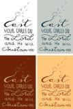 O verso da Bíblia da caligrafia da cristandade do molde seus cuidados no senhor e no ele sustentá-lo-á ilustração à mão tirada Foto de Stock