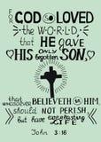 O verso dourado John 3 da Bíblia 16 para o deus amou assim o mundo Imagem de Stock