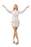 O vestido branco vestindo da mulher isolado no branco Fotos de Stock