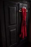 O vestido vermelho em um branco pontilha em um gancho de madeira Imagens de Stock