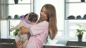 O veterinário está tomando o cão do pug em seus braços video estoque