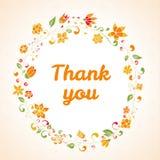 O vetor agradece-lhe cardar com quadro da flor Imagem de Stock Royalty Free