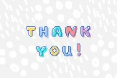 O vetor agradece-lhe frase no estilo mordido da arte 8 do pixel ilustração stock