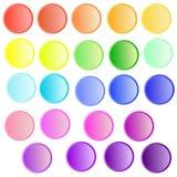 O vetor ajustado com arco-íris colore botões ilustração stock