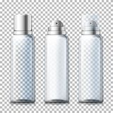 O vetor ajustou - garrafas realísticas da espuma 3d com tampões ilustração stock