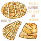 O vetor ajustou-se com as tortas com vegetais, carne, queijo e cogumelos Imagens de Stock