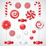 O vetor ajustou-se com os doces vermelhos e brancos diferentes Imagens de Stock