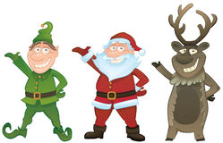 O vetor ajustou-se com Santa, duende e Rudolph ilustração stock
