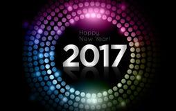 O vetor - ano novo feliz 2017 - disco do ouro ilumina o quadro ilustração do vetor