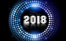 O vetor - ano novo feliz 2018 - disco do ouro ilumina o quadro Fotografia de Stock Royalty Free