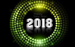 O vetor - ano novo feliz 2018 - disco do ouro ilumina o quadro Foto de Stock Royalty Free