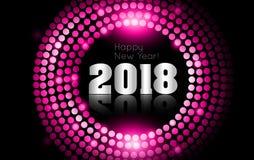 O vetor - ano novo feliz 2018 - disco do ouro ilumina o quadro ilustração royalty free