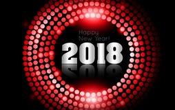 O vetor - ano novo feliz 2018 - disco do ouro ilumina o quadro ilustração do vetor