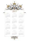 O vetor, 2017 calendar todos os 12 meses no decoratio branco do fundo ilustração stock