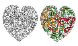O vetor colorido aprecia a palavra com flover e folha para o livro para colorir ilustração royalty free
