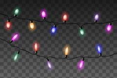 O vetor colorido das luzes do Natal ajustou-se no fundo transparente ilustração do vetor