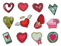 O vetor coloriu corações ajustados Mão desenhada Imagens de Stock Royalty Free