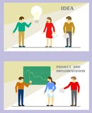 O vetor com caráteres ao estilo de um plano vem acima com uma ideia e um plano para sua aplicação ilustração stock
