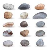 O vetor considera pedras e coleção dos seixos no branco Imagens de Stock Royalty Free