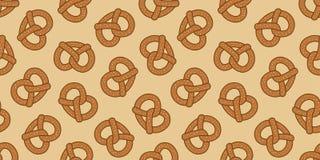 O vetor cozido cookie da garatuja do petisco do pretzel isolou o fundo do papel de parede ilustração do vetor