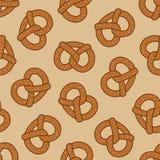 O vetor cozido da garatuja do petisco do teste padrão do pretzel cookie sem emenda isolou o tamanho grande do fundo do papel de p ilustração royalty free